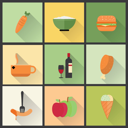 Flat icons for food and drinks.   Vector