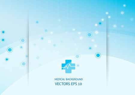 Abstract blue background graphics, medical illustrations, molecules.