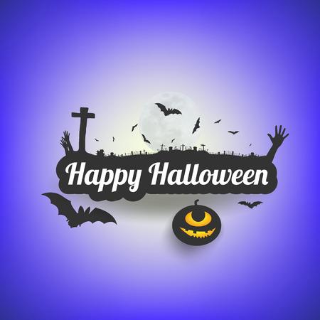 halloween message: Happy Halloween message design background,Card, vector illustration