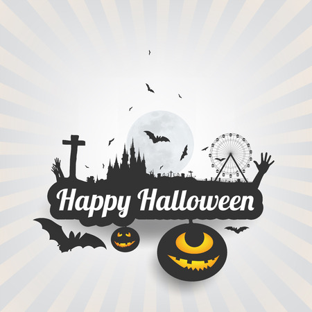 halloween message: Happy Halloween message design background,Card, vector illustration