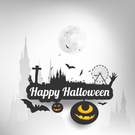 Happy Halloween message design background,Card, vector illustration Vector