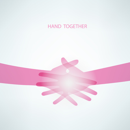 Handdruk, Teamwork Handen. Vector Illustratie