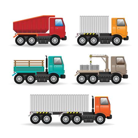 fleet: Vector modern creative flat design logistics fleet vehicles set featuring cargo trucks