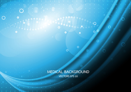 Abstract graphics molecules medical in blue background. Vector 向量圖像