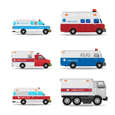 emergency ambulance: Vector modern creative flat design logistics fleet vehicles set featuring Ambulance Illustration
