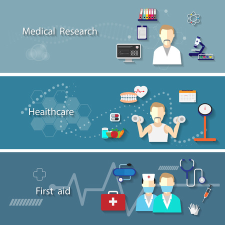 doctor isolated: Medical set with research health care first aid symbols isolated. Vector Illustration