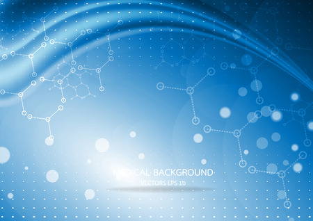 Abstract graphics molecules medical in blue background. Vector