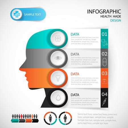 Medical Infographic Design-Kopf-Vorlage. Grafik oder Layout der Website Vektor.