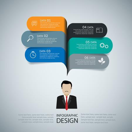 Modern infographic business speech template style. Vector illustration. 矢量图像