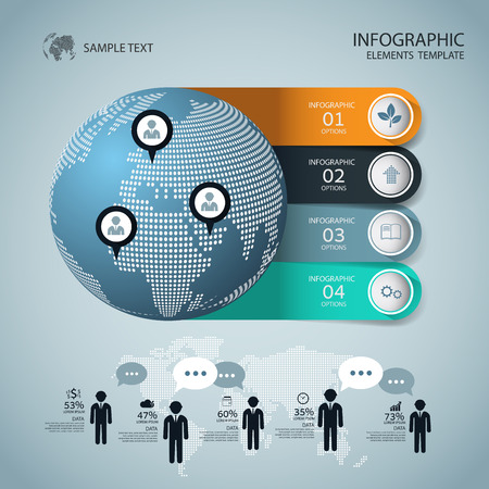 presentation people: Abstract Infographic design on the grey background. Vector illustration can be used for workflow layout, diagram, number options, web design. Illustration