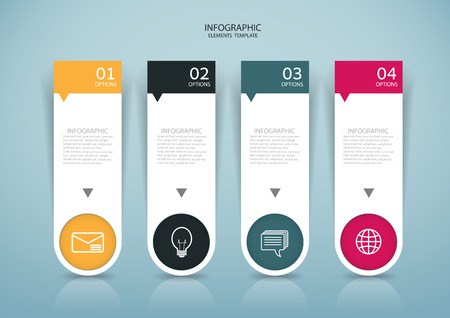 Abstract paper Infographics style design on the grey background. 矢量图像