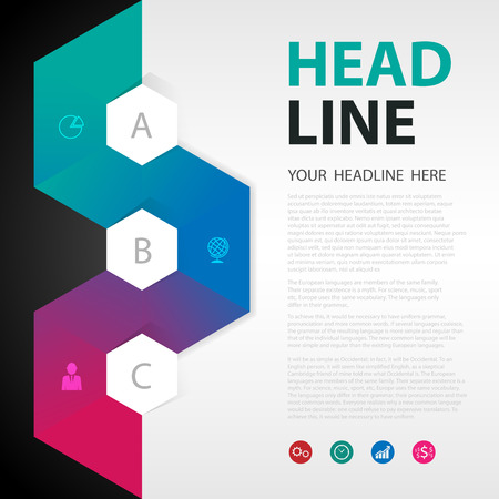 modern design: Modern Design Minimal style infographic template Info graphics composition with geometric shapes.vector