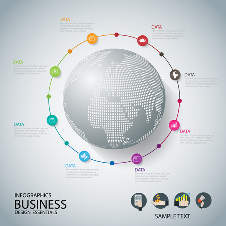 marks: World map with pointer marks communication concept business . vector Illustration