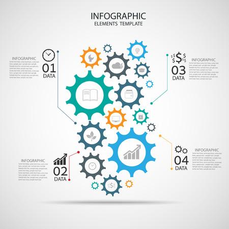 engranes: vector plantilla Infografía con la cadena de engranajes.