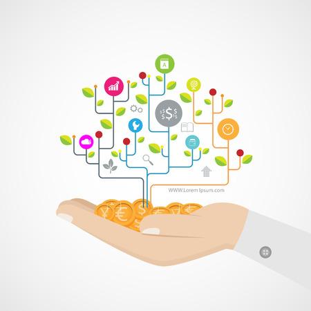 innovacion: c�rculos conectados Crecimiento mano idea de �rbol, iconos planos integrados Vectores