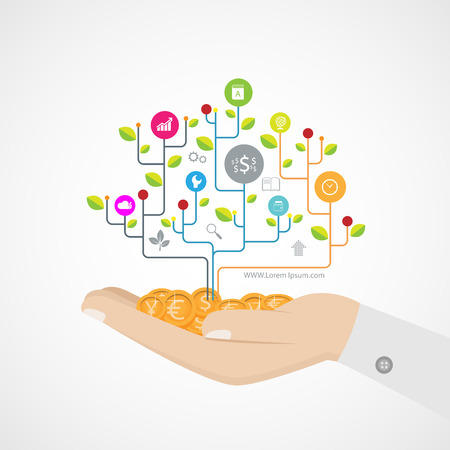 hand Growth tree idea connected circles, integrated flat icons