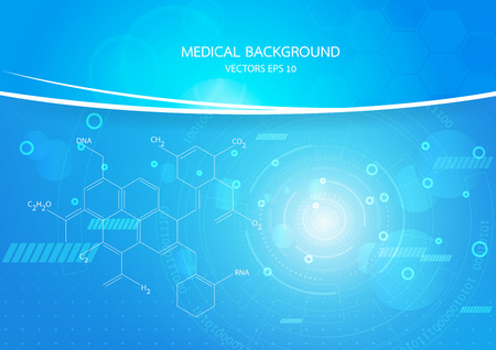 medical illustration: Abstract graphics molecules medical in blue background. Vector Illustration