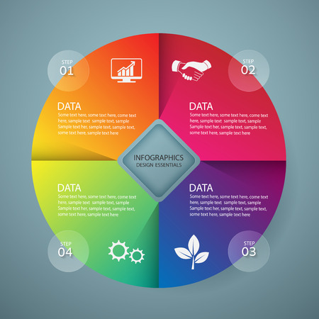circle design: Infographic design template and marketing icons, Business concept with 4 options Illustration