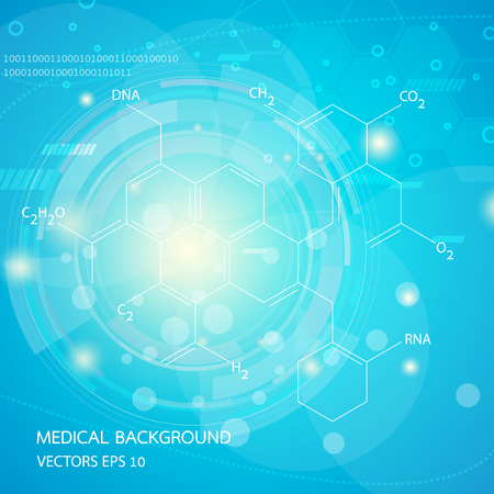 medical technology: Abstract graphics molecules medical in blue background. Vector Illustration
