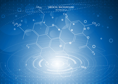Abstract graphics molecules medical in blue background. Vector Illustration
