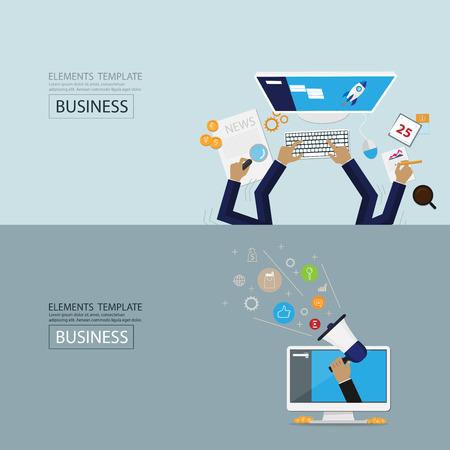 technology banner: flat style web banner set. digital marketing, Social Network and Social Media. Illustration
