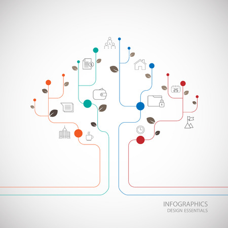 tree line: Line tree info graphic design. Illustration