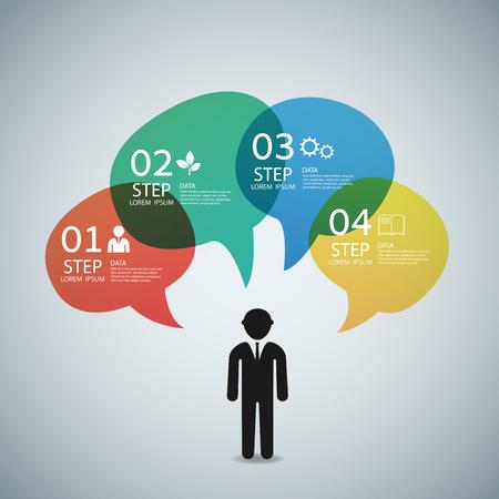 modern business: Modern infographic business speech template style. illustration.