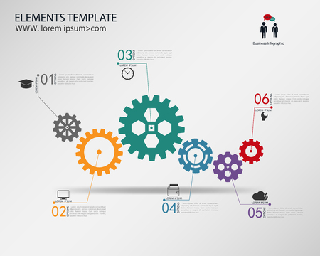 cogwheel: vector template Infographic  with gear chain. Illustration