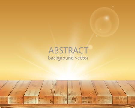 Vector illustratie houten vloer en Oranje achtergrond. Stock Illustratie