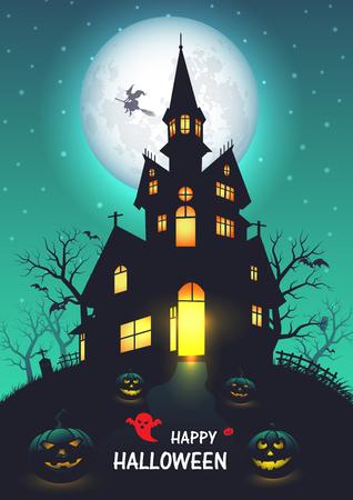 Oude kerk halloween achtergrond. vectorillustratie