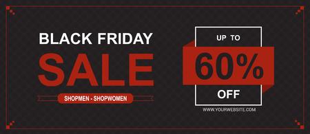 Black Friday sale posters vector. Black friday sale banner, special offer shopping illustration Illustration
