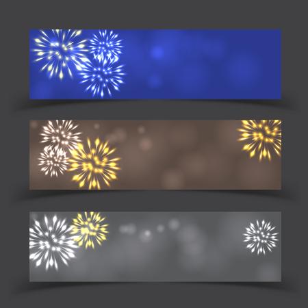 Fireworks on twilight banner background vector. Firework new year holiday celebration.