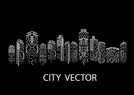Night city Modern city landscape. Daytime city skyline. Vectores
