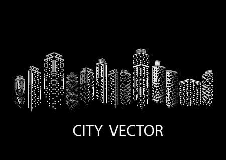 Miasto nocą Nowoczesny krajobraz miasta. Panoramę miasta w ciągu dnia. Ilustracje wektorowe