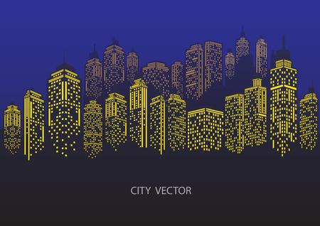 Night city Urban landscape. Blue city silhouette.