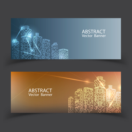 Banner Modern City Lights. city with lighting windows, and in winter time. vector illustration in flat design