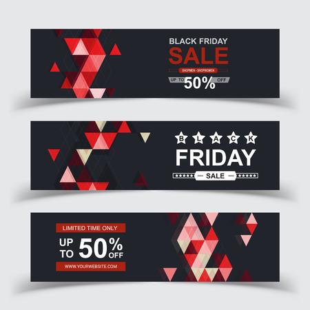 Vector de carteles de venta de viernes negro. Banner de venta de viernes negro, ilustración de compras de oferta especial