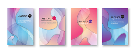 Set of abstract vector backgrounds with line waves.Vector illustration.  イラスト・ベクター素材