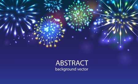 Fireworks on twilight background vector. Firework new year holiday celebration.Vector background can be used in cover design, book design, website background, CD cover, advertising.