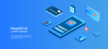 Modern design isometric concept business.smartphone on blue background and infographic elements. 3d isometric flat design. Vector illustration. Ilustração