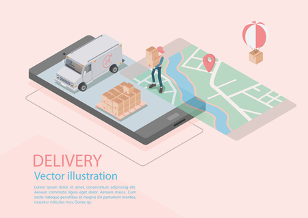 Logistics and Delivery Infographics.Isometric,truck,drone and delivery man. Vector illustration 矢量图像