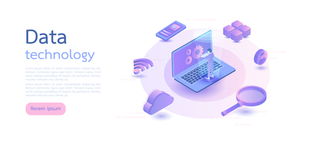 Isometric digital technology. Big data, cloud information storage, global transferring technology. web design, banner and presentation. Isometric vector illustration.