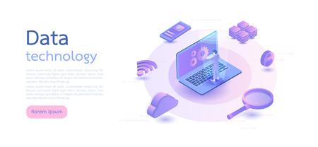 Isometric digital technology. Big data, cloud information storage, global transferring technology. web design, banner and presentation. Isometric vector illustration.