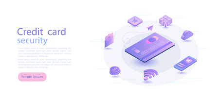 Credit card isometric. Digital money market, finance and trading. web design, banner and presentation. Isometric vector illustration.