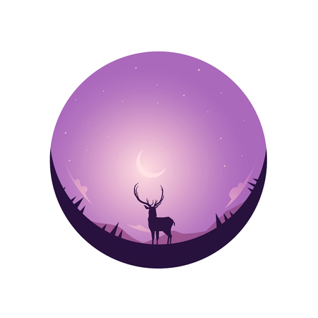 Illustration of winter season and Christmas day. Deer and a moon in background.