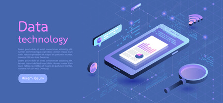 Modern design isometric concept business.smartphone on blue background and infographic elements. 3d isometric flat design. Vector illustration. 矢量图像