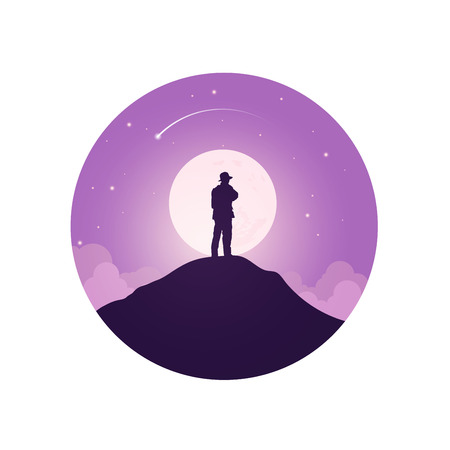 standing on the top of mountain.Vector illustration