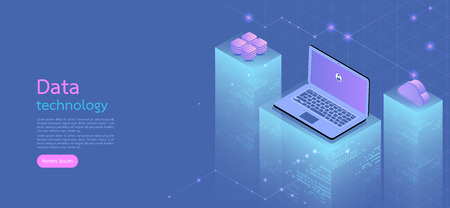 Modern design isometric concept business.Computer, laptop, smartphone on blue background. 矢量图像