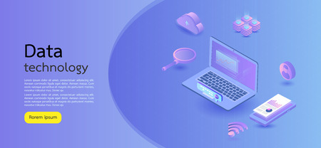 Modern design isometric concept business.Computer, laptop, smartphone on blue background. Illustration