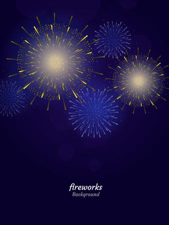 Fuegos artificiales de colores sobre fondo de cielo nocturno. Ilustración vectorial